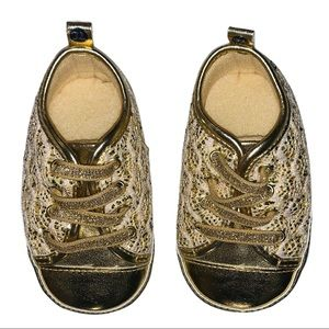 • Gold Lace Detail Baby Sneakers